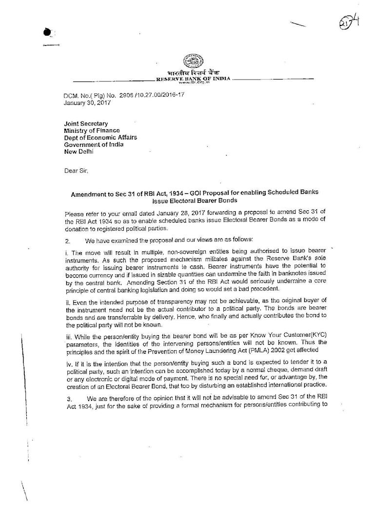 The Reserve Bank of India's detailed objection to the government's proposal on electoral bonds. This document was obtained by transparency activist Commodore Lokesh Batra (Retd) under the Right to Information Act. (Photo: )