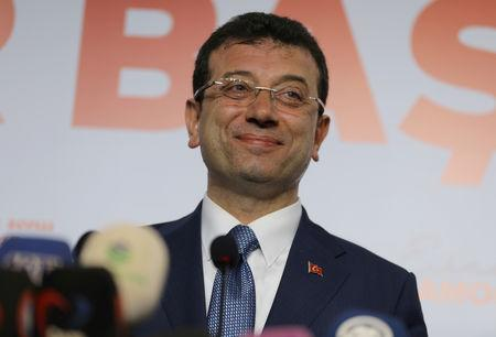 Ekrem Imamoglu, mayoral candidate of the main opposition Republican People's Party (CHP), speaks during a news conference in Istanbul, Turkey April 1, 2019. REUTERS/Huseyin Aldemir