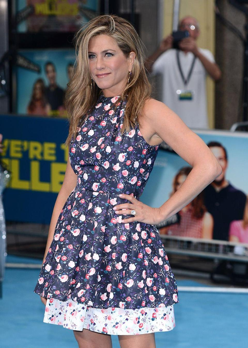 """<p>Aniston is all about hanging out outside, but she wears sunscreen. """"I still sit in the sun...you need that vitamin D for a glow and your mood,"""" she told <a href=""""https://www.vogue.com/article/jennifer-aniston-skincare-routine-the-morning-show"""" rel=""""nofollow noopener"""" target=""""_blank"""" data-ylk=""""slk:Vogue"""" class=""""link rapid-noclick-resp"""">Vogue</a>.</p>"""