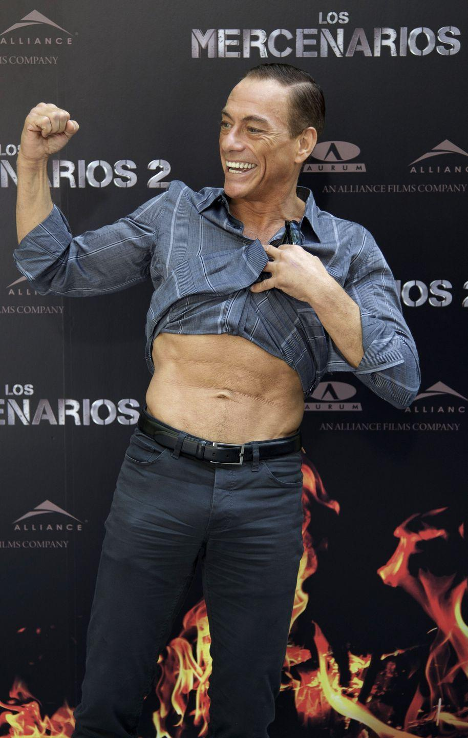 <p>Jean Claude Van Damme may be 60, but he's still got a body that could rival any action star of today—which he proved at <em>The Expendables 2 </em>premiere in 2020.</p>