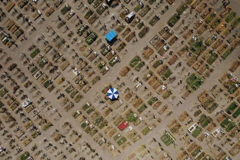 Aerial view of graves at a special area designated for COVID-19 victims at the Valle de Chalco graveyard in the State of Mexico