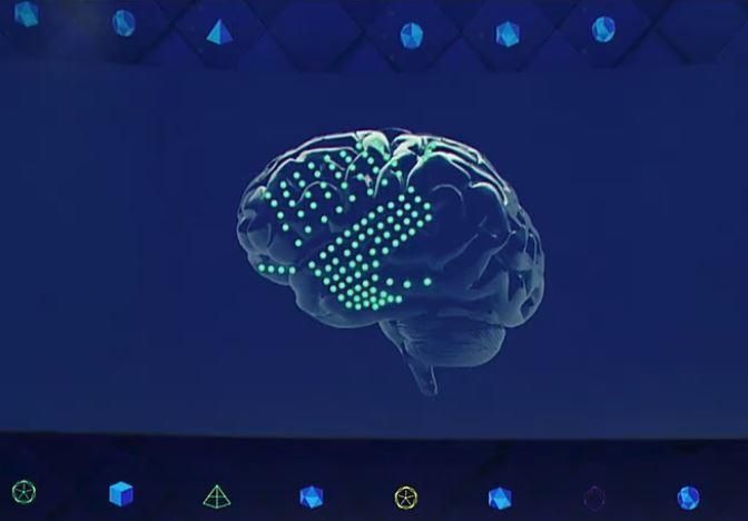 An illustration of a brain-computer interface at Facebook's F8 conference, April 19, 2017.