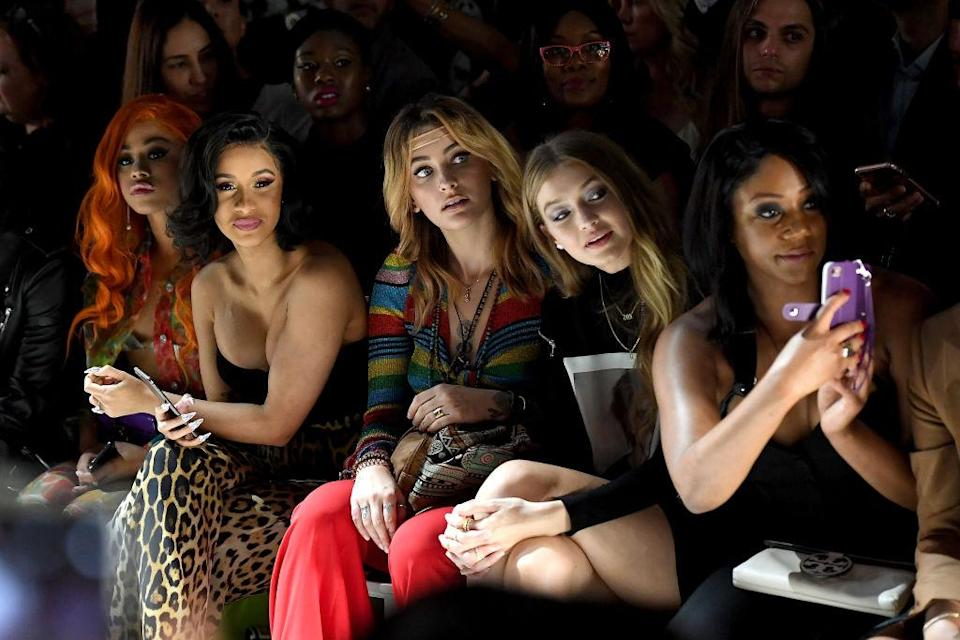 <p>Hennessy Carolina, Cardi B, Paris Jackson, Gigi Hadid and Tiffany Haddish attend the Jeremy Scott Spring 2019 show during New York Fashion Week at Spring Studios on September 6, 2018 in New York City. (Photo: Nicholas Hunt/Getty Images for NYFW: The Shows) </p>