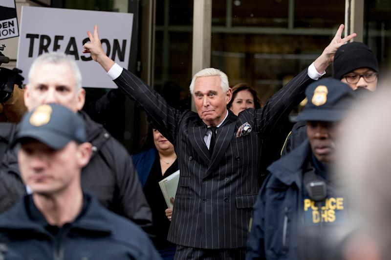 Roger Stone leaves the federal court Friday, Feb. 1, 2019 in Washington. Stone appeared for a status conference just three days after he pleaded not guilty to felony charges of witness tampering, obstruction and false statements.