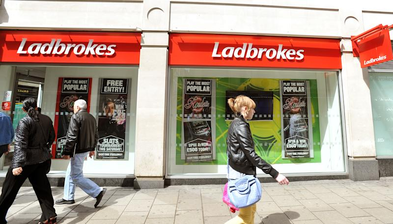 The outside of the Ladbrokes betting shop in Charing Cross Road, central London.