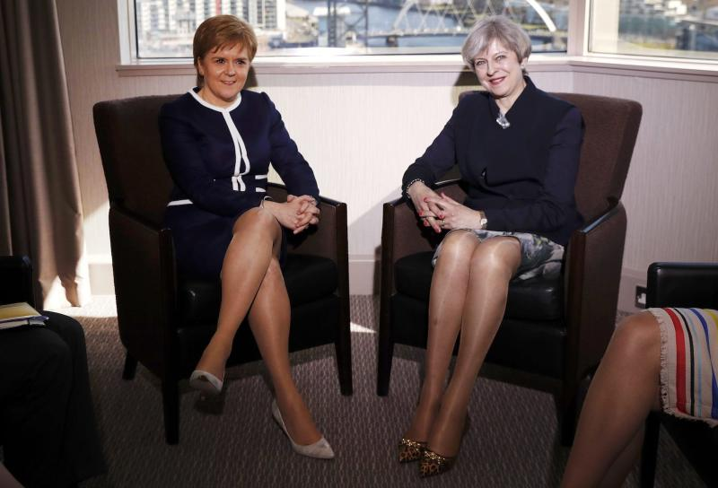 Theresa May wore a pair of her favourite leopard print shoes for a meeting with Nicola Sturgeon [Photo: Getty]