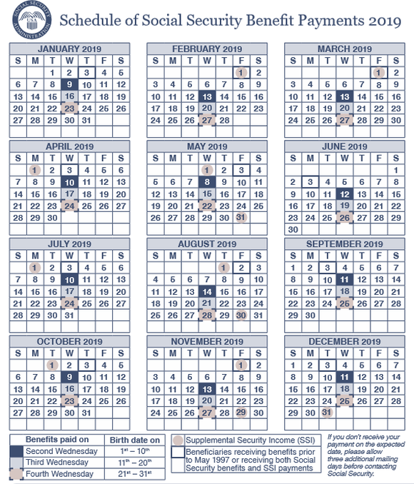 Social Security Benefits Calendar 2019 Here's Your 2019 Social Security Payments Schedule