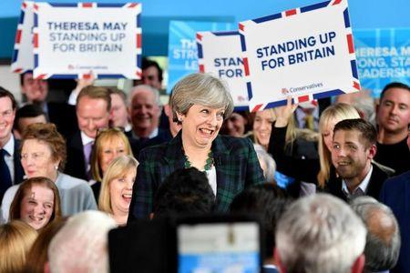 Britain's Prime Minister Theresa May speaks to supporters at a campaign event at Shine Centre in Leeds