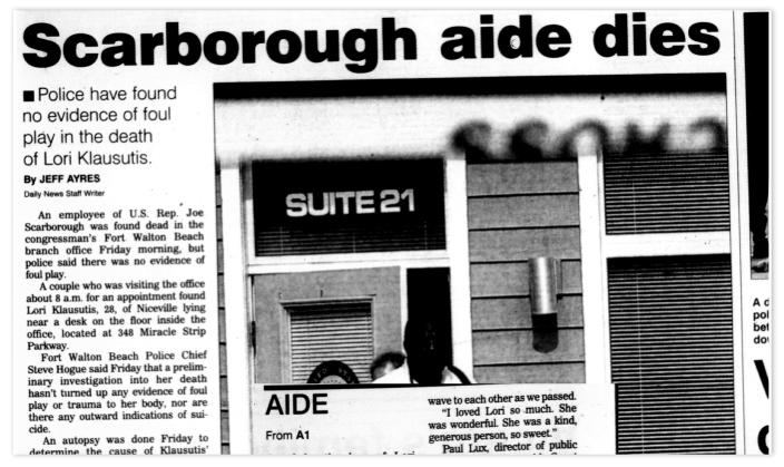 Headline from the Northwest Florida Daily News on July 21, 2001.