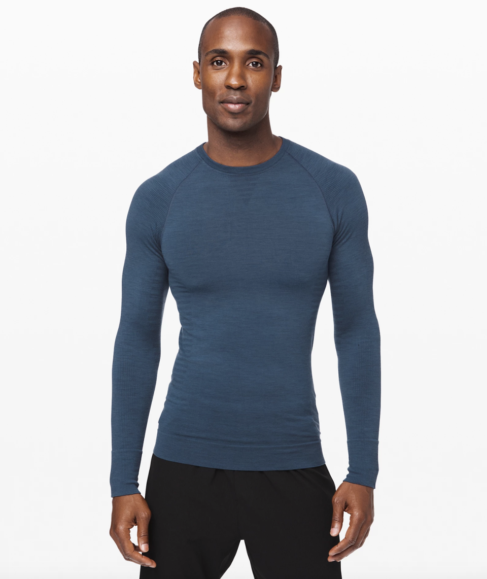 """<p><strong>Lululemon</strong></p><p>lululemon.com</p><p><strong>$98.00</strong></p><p><a href=""""https://go.redirectingat.com?id=74968X1596630&url=https%3A%2F%2Fshop.lululemon.com%2Fp%2Fmen-ls-tops%2FKeep-The-Heat-Thermal-LS-M%2F_%2Fprod9230017&sref=https%3A%2F%2Fwww.menshealth.com%2Fstyle%2Fg25171257%2Fbest-thermal-shirts-for-men%2F"""" rel=""""nofollow noopener"""" target=""""_blank"""" data-ylk=""""slk:BUY IT HERE"""" class=""""link rapid-noclick-resp"""">BUY IT HERE</a></p><p>A wool-synthetic blend gives you the best of both worlds: odor-fighting capabilities with sweat-wicking breathability. Layer this under a performance fabric hoodie for a friendly game of pick-up at your closest outdoor court or a parka on your next boarding trip. </p>"""