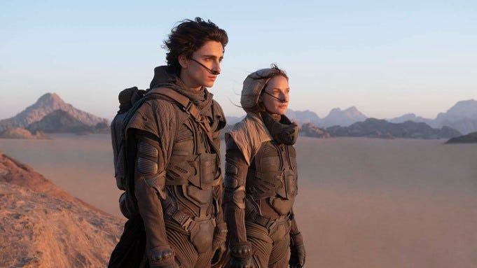 """A picture of Timothée Chalamet and Rebecca Ferguson in """"Dune."""""""