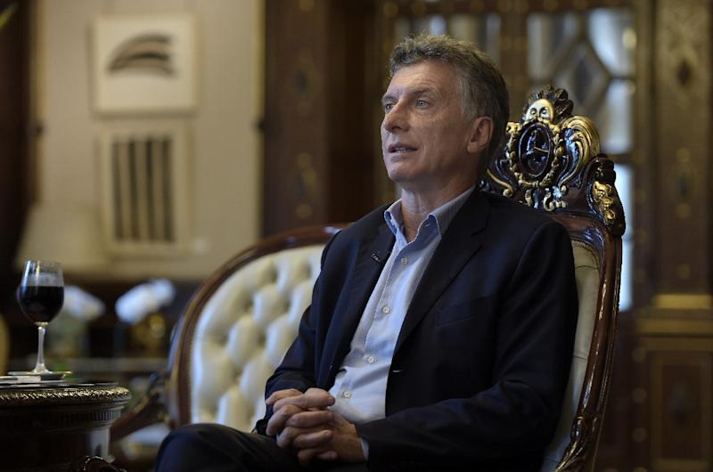 Argentina's President Mauricio Macri speaks during an interview with AFP at the Casa Rosada presidential palace in Buenos Aires on February 22, 2016 (AFP Photo/Juan Mabromata)