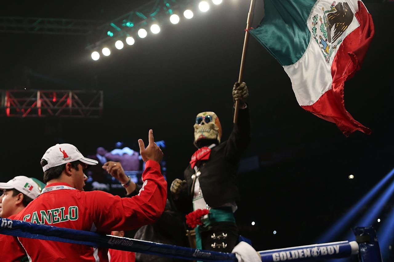 LAS VEGAS, NV - SEPTEMBER 15:  A Mexican flag is waved in the corner of Canelo Alvarez before his WBC super  welterweight title defense against Josesito Lopez at MGM Grand Garden Arena on September 15, 2012 in Las Vegas, Nevada. (Photo by Josh Hedges/Getty Images)