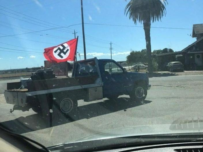 A pickup truck flying a Nazi flag was spotted in Empire, California.  (Sacramento Radical Education / Twitter)