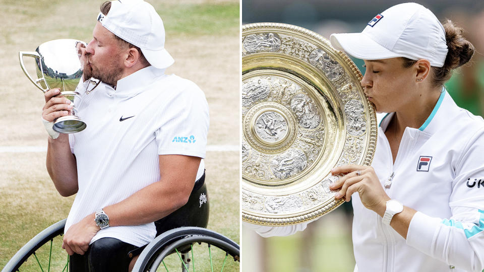 Dylan Alcott and Ash Barty, pictured here with their Wimbledon trophies.