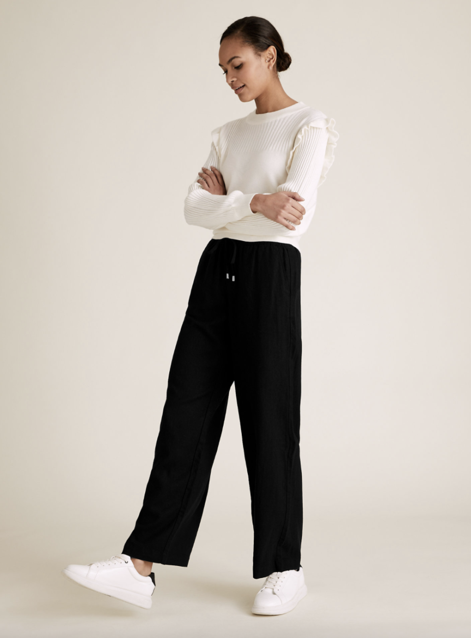 M&S linen trousers come in three colours; black, navy blue and white.  (Marks and Spencer)