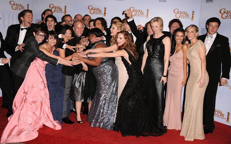 The Glee cast pose in the press room at the 68th Annual Golden Globe Awards held at The Beverly Hilton hotel on January 16, 2011 in Beverly Hills, California.