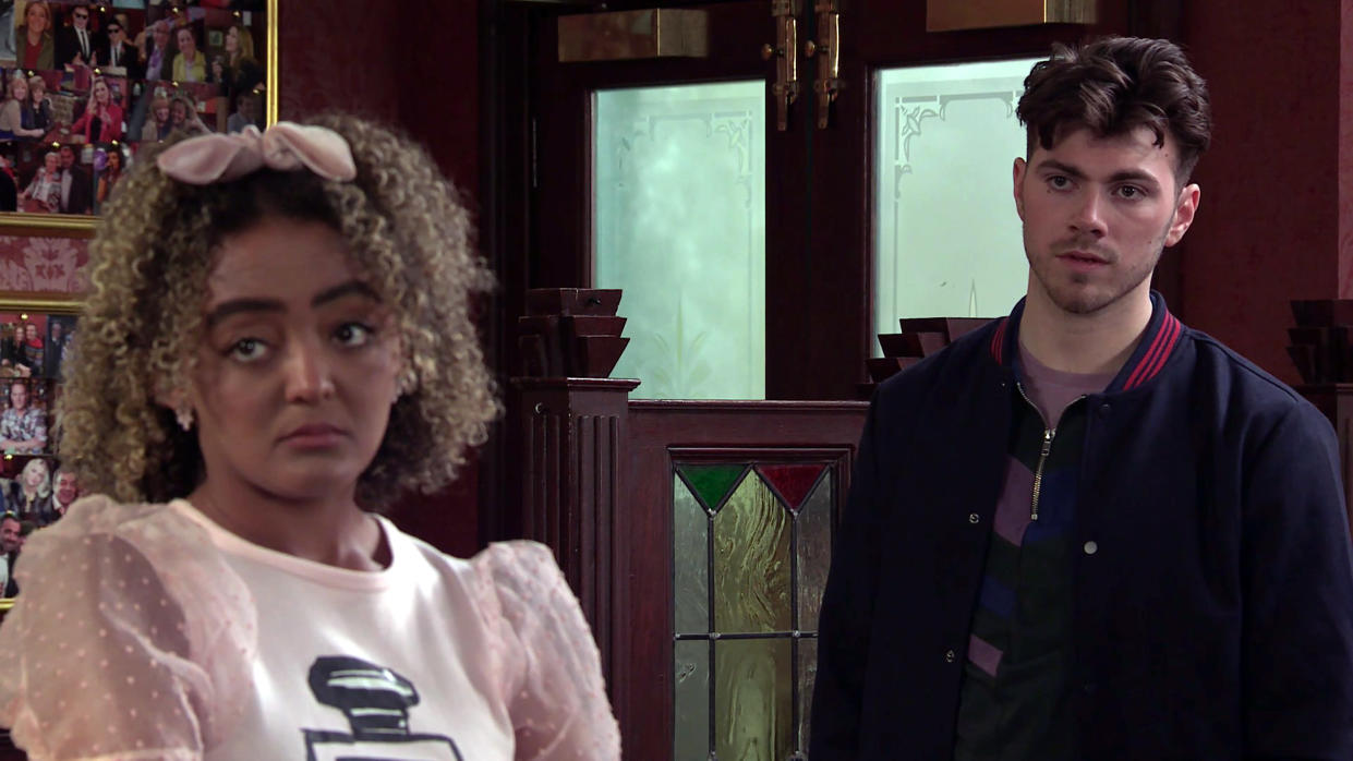 FROM ITV  STRICT EMBARGO - No Use Before Tuesday 18th May 2021  Coronation Street - Ep 10333  Monday 24th May 2021 - 1st Ep  Steve McDonald [SIMON GREGSON] however is less than pleased to discover Emma having a drink with Curtis Delamere [SAM RETFORD] the hooligan who knocked him off his bike causing him to come last in the charity fundraiser.  Picture contact David.crook@itv.com   This photograph is (C) ITV Plc and can only be reproduced for editorial purposes directly in connection with the programme or event mentioned above, or ITV plc. Once made available by ITV plc Picture Desk, this photograph can be reproduced once only up until the transmission [TX] date and no reproduction fee will be charged. Any subsequent usage may incur a fee. This photograph must not be manipulated [excluding basic cropping] in a manner which alters the visual appearance of the person photographed deemed detrimental or inappropriate by ITV plc Picture Desk. This photograph must not be syndicated to any other company, publication or website, or permanently archived, without the express written permission of ITV Picture Desk. Full Terms and conditions are available on  www.itv.com/presscentre/itvpictures/terms