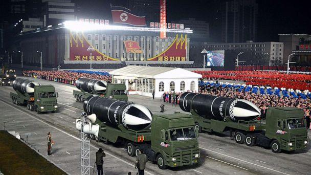PHOTO: TThis picture taken on Jan. 14, 2021, shows what appears to be submarine-launched ballistic missiles during a military parade celebrating the 8th Congress of the Workers' Party of Korea (WPK) in Pyongyang. (KCNA via KNS/AFP via Getty Images)