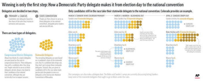 How delegates are allocated in the Democratic Party process;