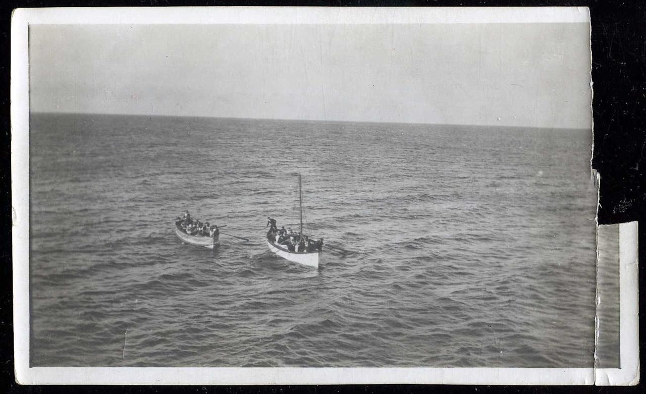 "Survivors from the Titanic are pictured here in lifeboats rowing towards rescue ship the Carpathia.<br><br> This extremely rare collection is due to be sold by <a target=""_blank"" href=""http://weissauctions.auctionflex.com/showlot.ap?co=6845&weid=0&weiid=7108186&archive=n&keyword=titanic&lso=timeleftasc&pagenum=1&lang=En"">Philip Weiss  Auctions</a> on October 21, 2011, and the current minimum bid is $36,000.<br><br>(Photo courtesy of <a target=""_blank"" href=""http://www.weissauctions.com"">Phillip Weiss Auctions</a>)"