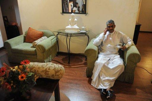 Sri Lanka's former army chief Sarath Fonseka is pictured at his residence following his release from prison in Colombo