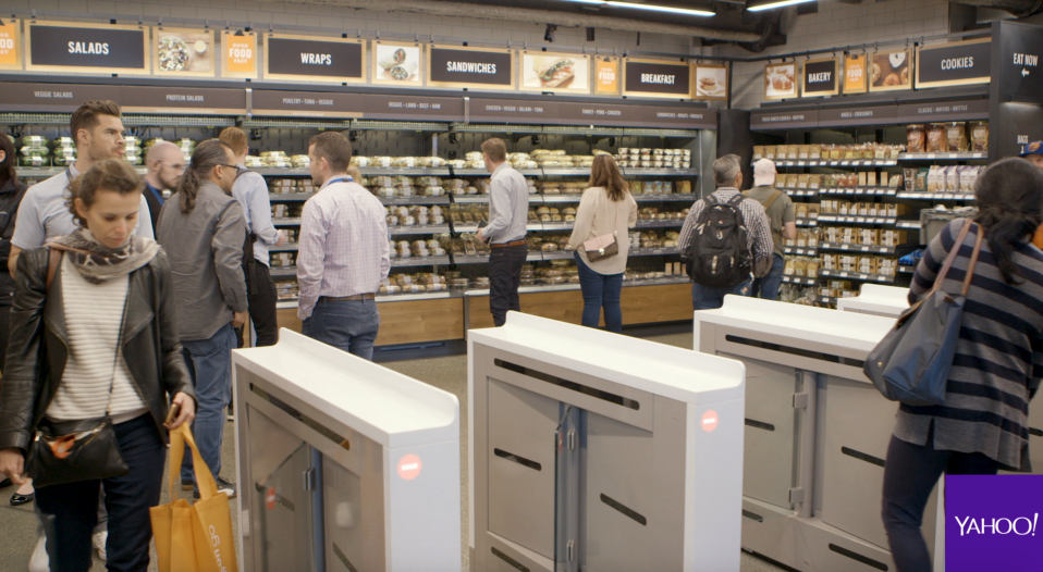 Instead of cashiers at the front of Amazon Go, shoppers will find turnstiles that scan each shopper's unique QR code when they enter.
