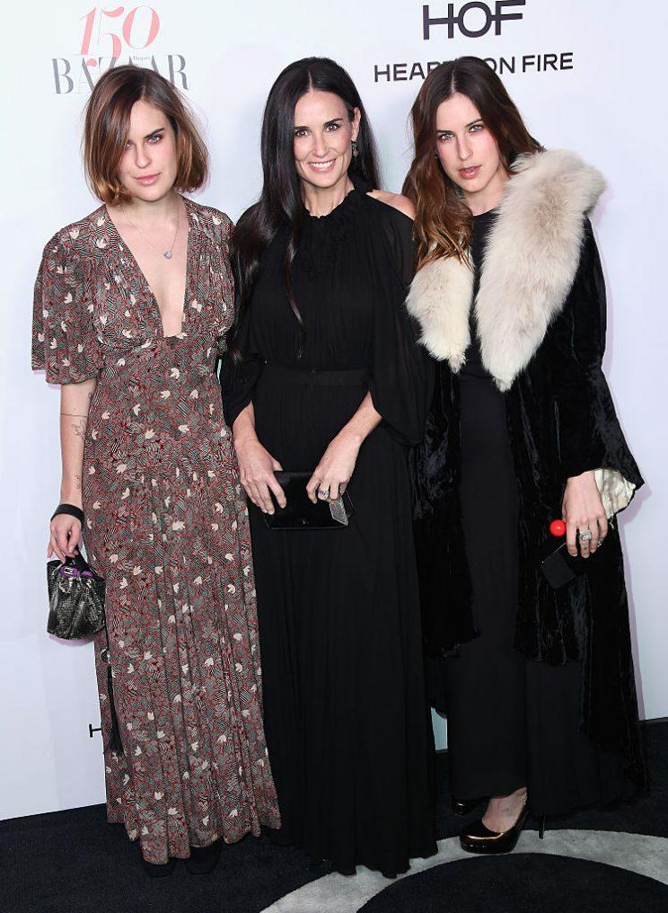 Fashion-forward trio Tallulah Belle Willis, Demi Moore and Scout Willis at the Harper's Bazaar Celebrates 150 Most Fashionable Women event (Photo: Getty Images)