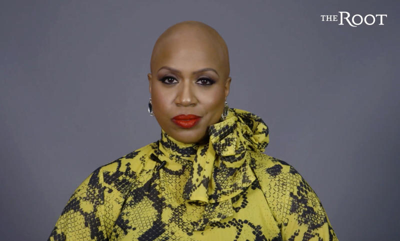 This image from video released courtesy of The Root and G/O Media shows Rep. Ayanna Pressley in a video posted Thursday, Jan. 16, 2020, announcing that she has gone bald due to alopecia. The freshman Massachusetts' Democrat made a touching video for The Root, the African American-focused online magazine, in which she revealed her bald head. (Courtesy of The Root and G/O Media via AP)