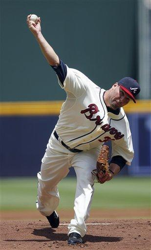 Atlanta Braves starter Ben Sheets works in the first inning of a baseball game against the New York Mets, Sunday, July 15, 2012, in Atlanta. (AP Photo/John Bazemore)