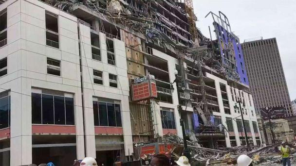 PHOTO: This photo provided by WWL-TV shows the scene after a large portion of the Hard Rock Hotel, which is under construction, suddenly collapsed Oct. 12, 2019, in New Orleans. (WWL-TV via AP)