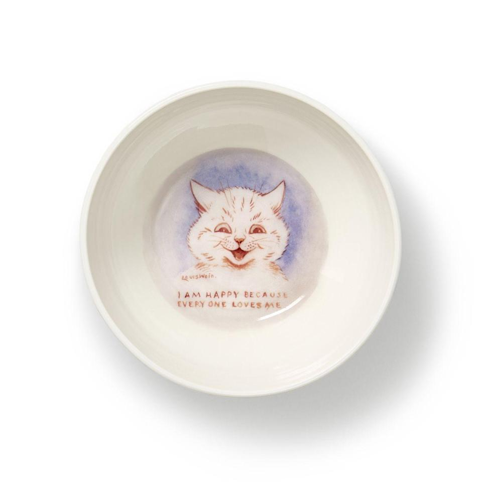 """<p>Created for the cat with attitude in your life, Cheshire & Wain's bowl features an artwork by English artist (and the brand's namesake) Louis Wain (1860-1939), who was known for his charming illustrations of our feline friends. A collaboration with Cambridge-based potter Rachel Dormor, the bowl will ensure mealtimes are a civilised affair. £28, <a href=""""https://www.cheshireandwain.com/"""" rel=""""nofollow noopener"""" target=""""_blank"""" data-ylk=""""slk:cheshireandwain.com"""" class=""""link rapid-noclick-resp"""">cheshireandwain.com </a></p>"""