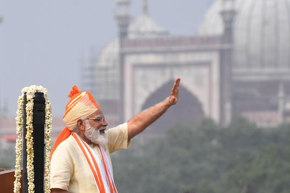 India's Prime Minister Narendra Modi waves after his speech to the nation during a ceremony to celebrate India's 74th Independence Day in New Delhi on August 15, 2020. (Photo by PRAKASH SINGH/AFP via Getty Images)