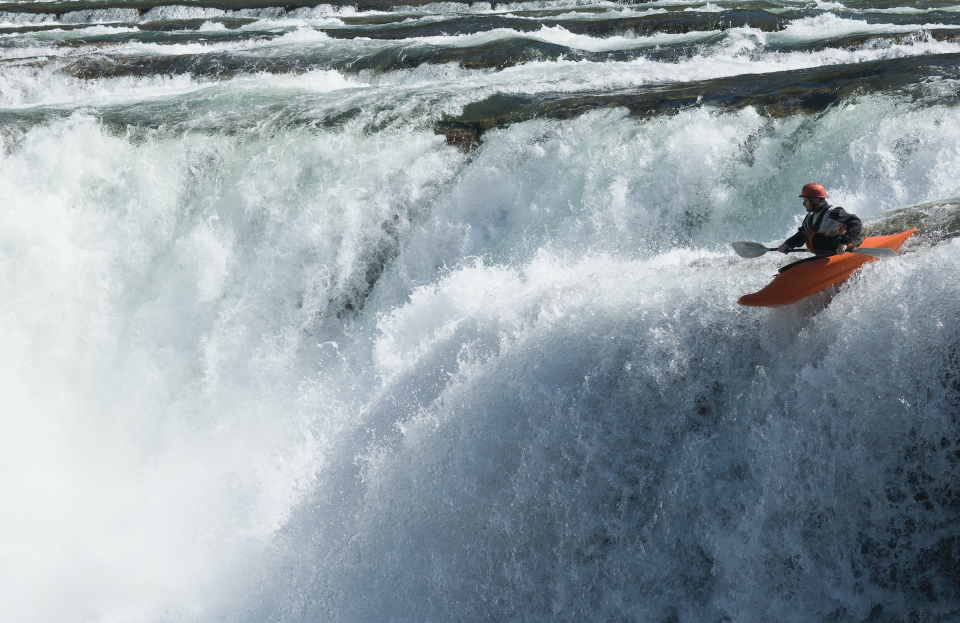 Kayaking off a cliff. (Getty Images)