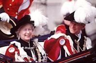 <p> We love how he's looking at her! The pair enjoy the annual Garter Ceremony, Windsor in 1994. </p>