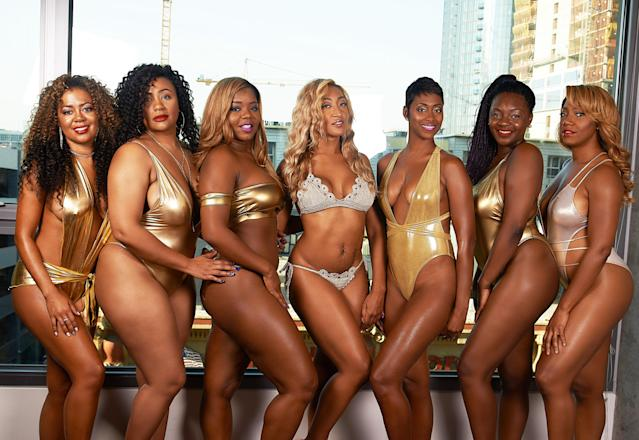 "Eleanor ""Cori"" Curry, at center, poses with friends in metallic swimsuits for an empowering shoot. (Photo: <a href=""http://www.bjzimages.com/"" rel=""nofollow noopener"" target=""_blank"" data-ylk=""slk:Brandan J Zachery"" class=""link rapid-noclick-resp"">Brandan J Zachery</a>)"