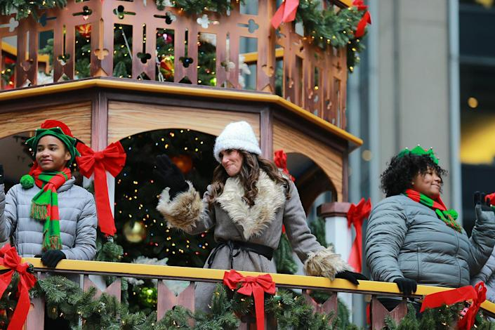 Singer, songwriter, actor, philanthropist Idina Menzel who won a Tony Award for her role as Elphaba in the musical Wicked rides Deck the Halls Float in the 93rd Macy's Thanksgiving Day Parade. Modeled after time honored wooden Christmas pyramids, this float is hand-painted with delicate wooden carvings. (Photo: Gordon Donovan/Yahoo News)