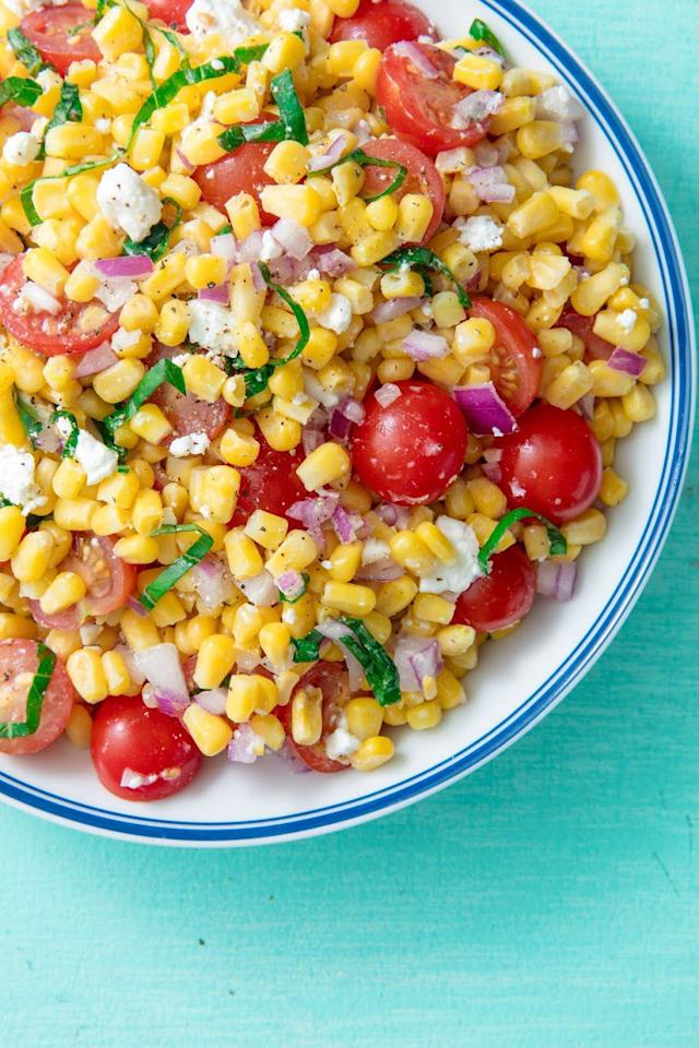 """<p>The quintessential summer salad.</p><p>Get the recipe from <a rel=""""nofollow"""" href=""""https://www.delish.com/cooking/recipe-ideas/a19695472/easy-fresh-corn-salad-recipe/"""">Delish</a>.</p><p><a rel=""""nofollow"""" href=""""https://www.amazon.com/Stainless-Mixing-Finedine-Polished-Nesting/dp/B01HTYH8YA?pldnSite=1&tag=delish_auto-append-20&ascsubtag=[artid