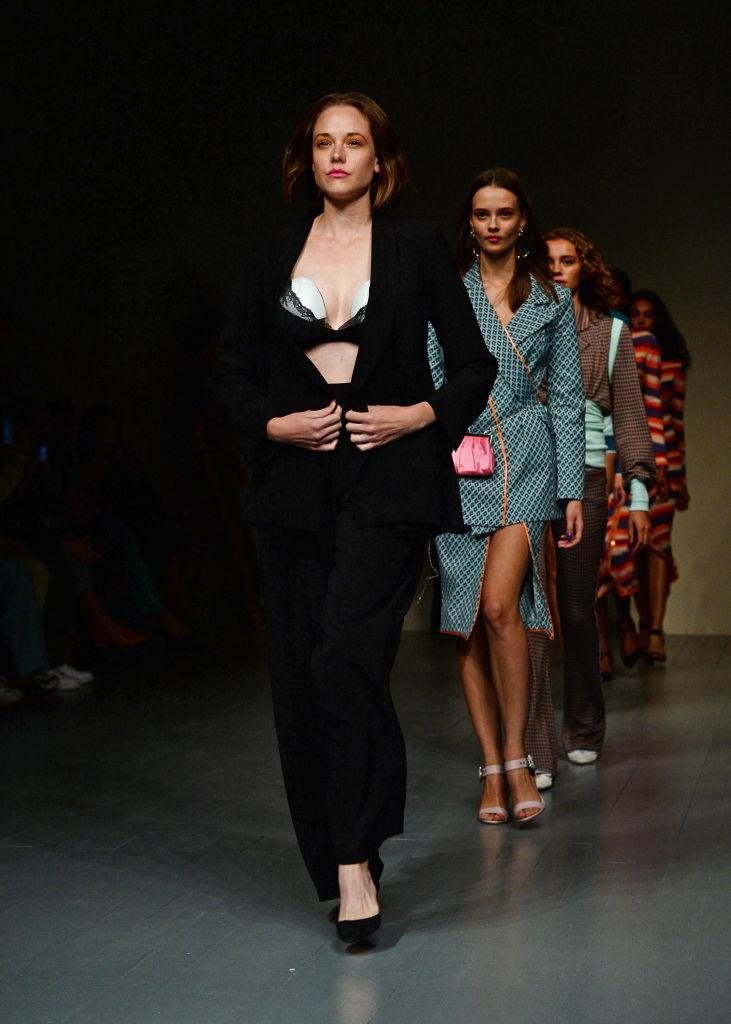 Valeria Garcia made history as the first model to don a wearable breast pump on the runway [Photo: Getty]