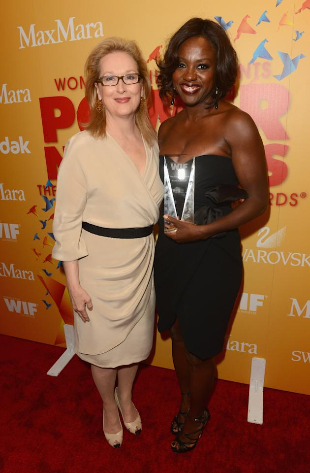 BEVERLY HILLS, CA - JUNE 12:  Actresses Meryl Streep (L) and Viola Davis pose backstage at the 2012 Women In Film Crystal + Lucy Awards held at The Beverly Hilton Hotel on June 12, 2012 in Beverly Hills, California.  (Photo by Jason Merritt/Getty Images For Women In Film Crystal + Lucy Awards)