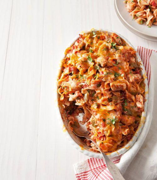 """<p>We've taken a traditional chicken casserole and added some Mexican flavors for a new and delicious take on a family favorite dish. </p><p><strong><a href=""""https://www.countryliving.com/food-drinks/recipes/a34246/king-ranch-chicken-noodle-casserole-recipe-ghk0314/"""" rel=""""nofollow noopener"""" target=""""_blank"""" data-ylk=""""slk:Get the recipe"""" class=""""link rapid-noclick-resp"""">Get the recipe</a>.</strong></p>"""