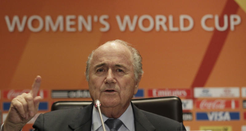 FIFA President Joseph Blatter reacts  during a news conference for the Women's Soccer World Cup in Frankfurt, Germany, Saturday, July 16, 2011. The final between USA and Japan is scheduled for Sunday. (AP Photo/Frank Augstein)