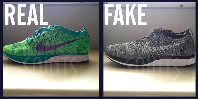 From a side view, you'll notice how the authentic Flyknit Racers have a  sleek curve at the heel. On the fake pair, it's much less bulbous and  defined.