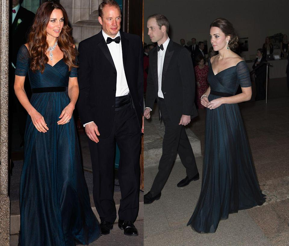 <p>Middleton has reworn this dark green blue Jenny Packham gown for the St. Andrews 600th Anniversary Dinner at the Metropolitan Museum in New York in 2014 and at the Portrait Gallery Gala in February of that same year. </p>