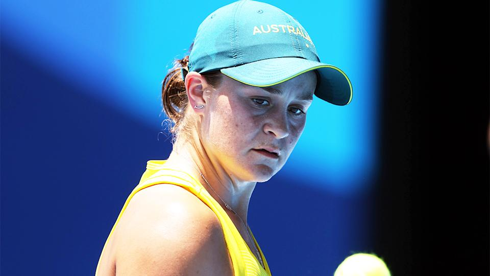 Ash Barty (pictured) looking frustrated during the Tokyo Olympics.