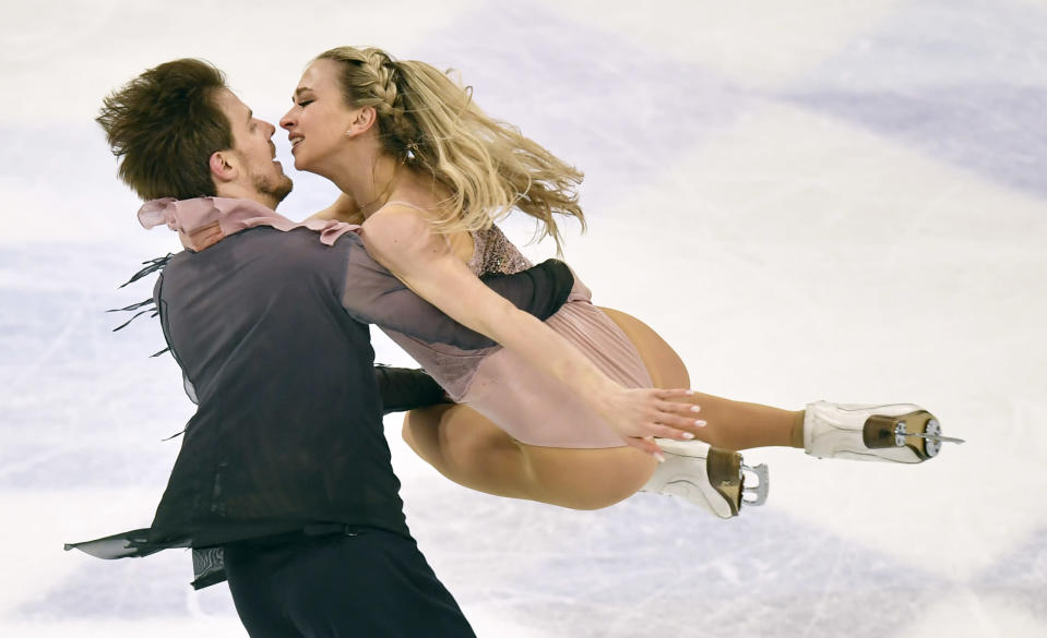Russian ice dancers Victoria Sinitsina and Nikita Katsalapov perform during the Ice Dance-Free Dance at the Figure Skating World Championships in Stockholm, Sweden, Saturday, March 27, 2021. (AP Photo/Martin Meissner)