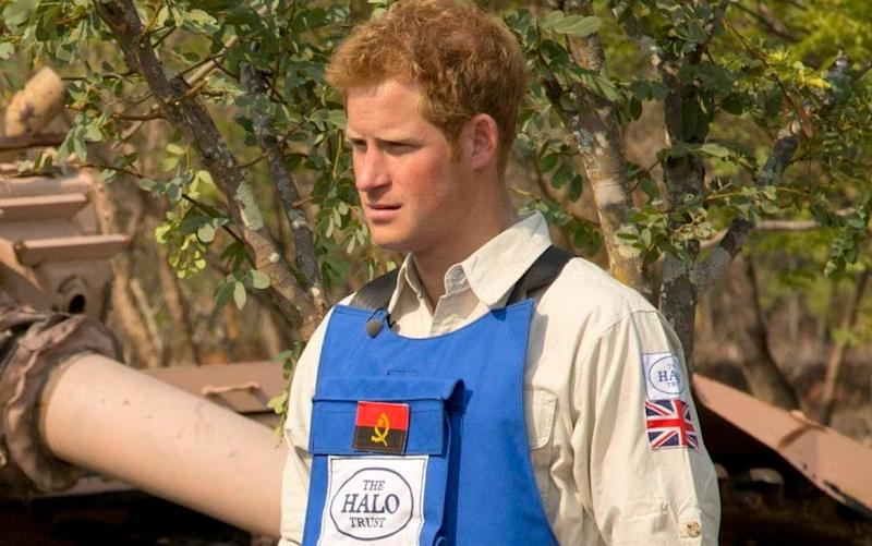 Prince Harry on a visit to Angola with the HALO Trust, which clears mine fields - PA