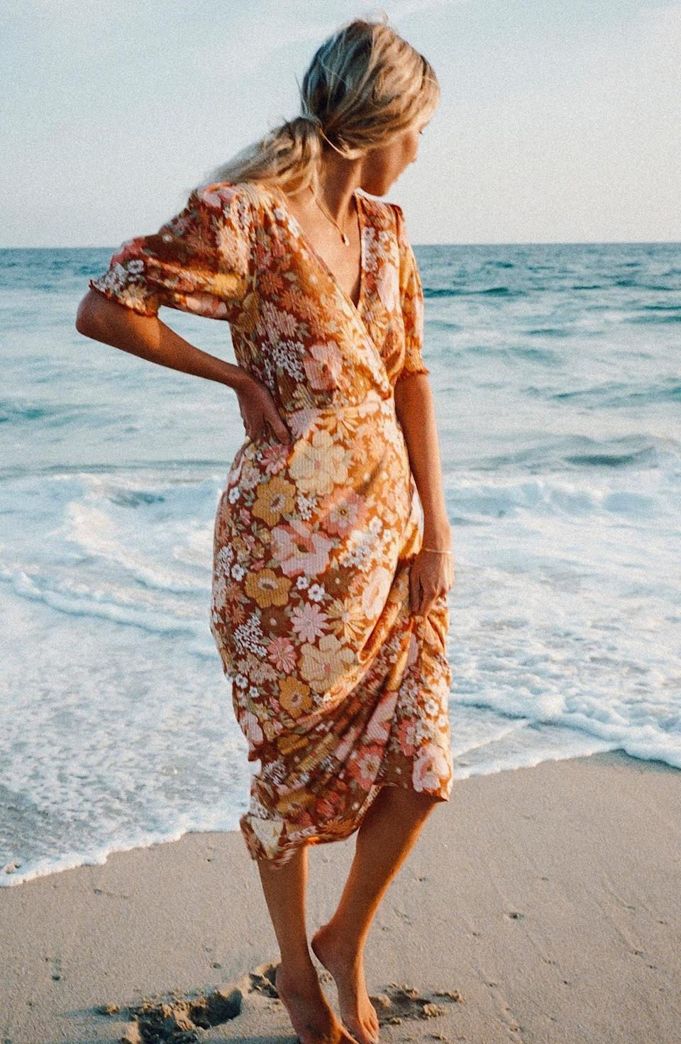 <p>This <span>Billabong x The Salty Blonde Hello There Puff Sleeve Seersucker Maxi Dress</span> ($90) is a joyful and feminine pick for your next vacation.</p>