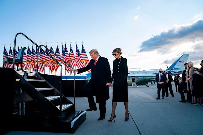 <p>Donald Trump and Melania to take the stage at Joint Base Andrews.</p>
