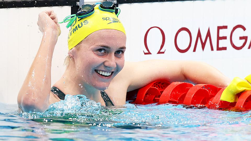 Ariarne Titmus, pictured here after winning gold in the 400m freestyle.
